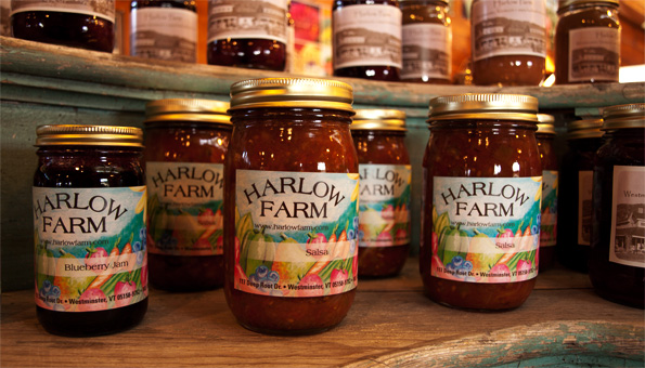 photo of jars of salsa from the Harlow Farm kitchen