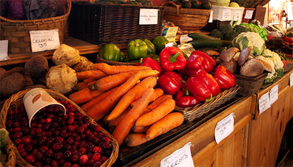 photo of produce on display at the farm stand