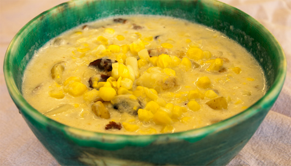 photo of a bowl of corn chowder