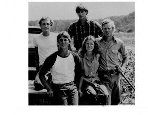 Early farm crew: Tom Harlow, Susan Edgar and Paul Harlow; (back) Dan Harlow, Chris Harlow.
